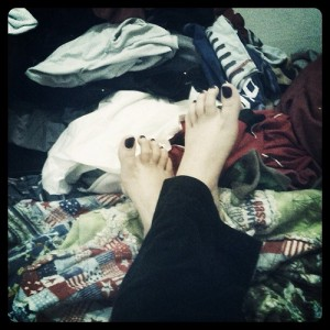prop your feet on that pile of laundry in the hall